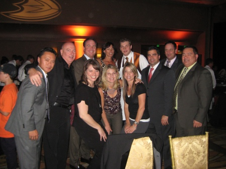 Hilton Anaheim Executive Team with Chef Bruno of Anaheim Whitehouse and Bobby Ryan of The Ducks