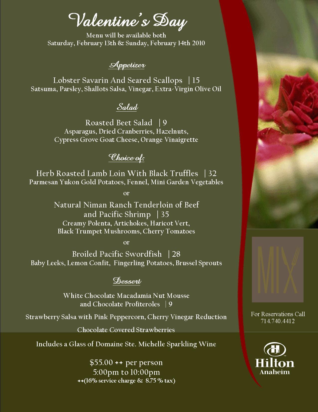 Menu Valentine Dinner   New Calendar Template Site