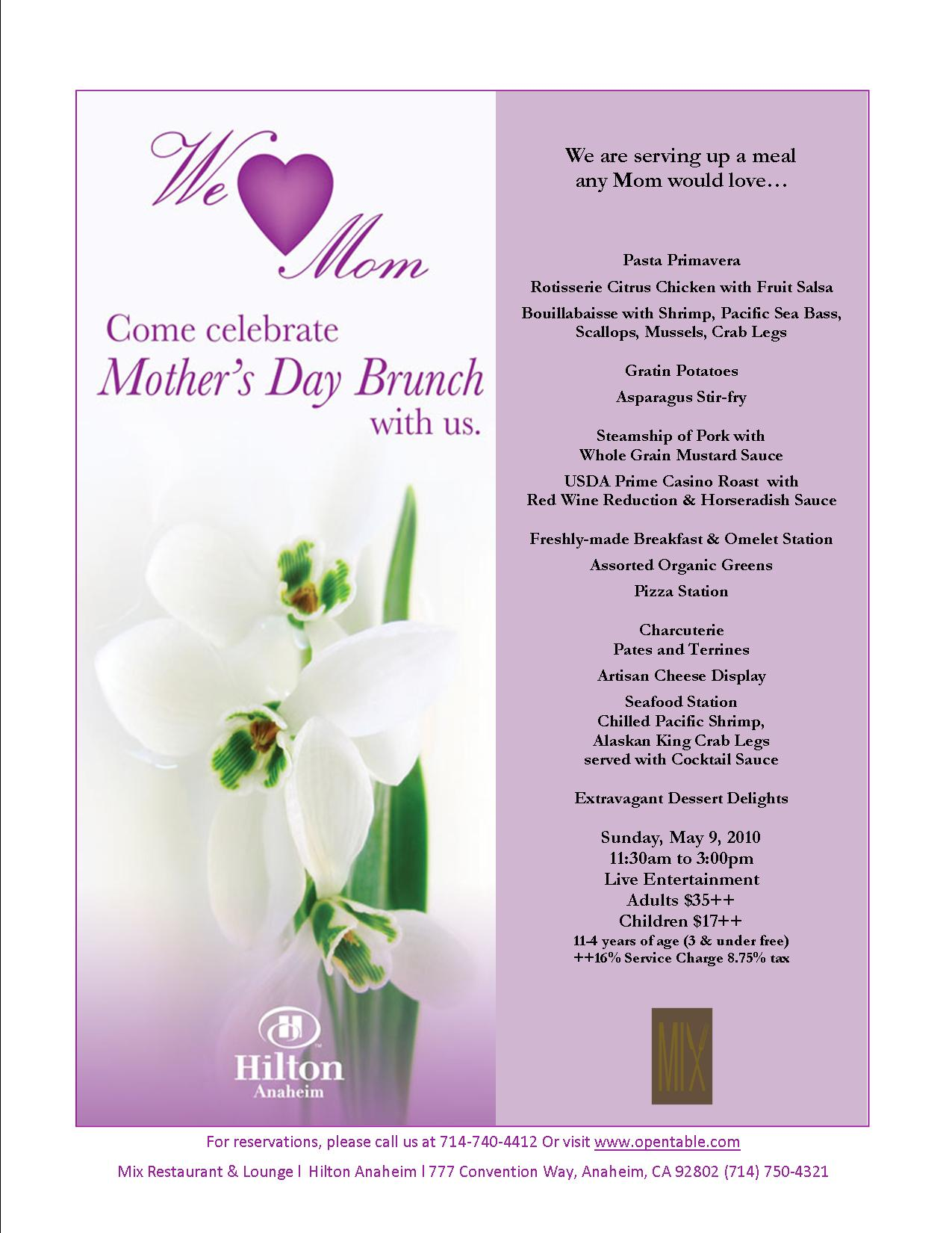Mothers Day Brunch Today At Hilton Anaheim